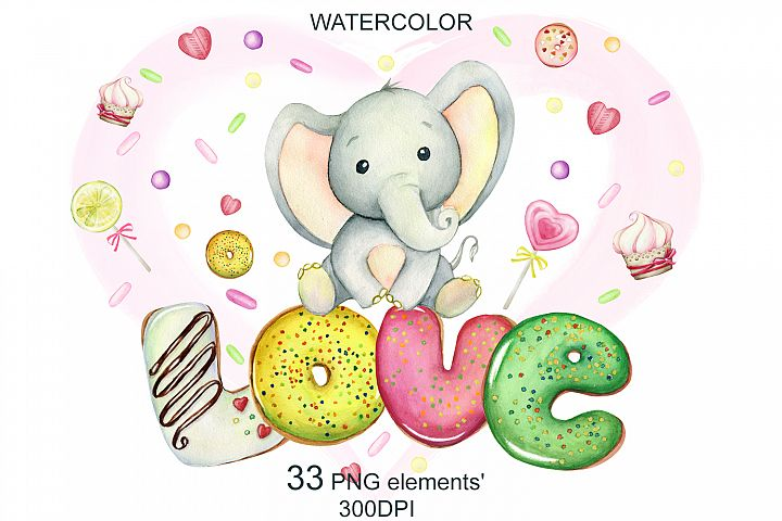 watercolor Cute little elephants, for Valentines Day