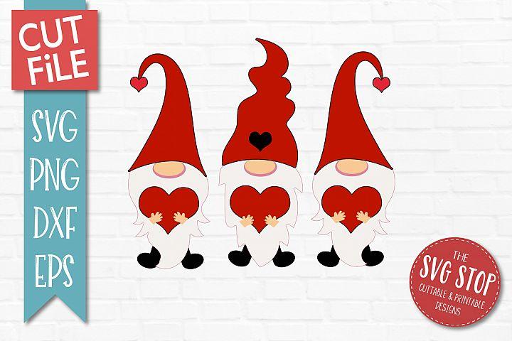 Valentine Gnomes Trio SVG, PNG, DXF, EPS