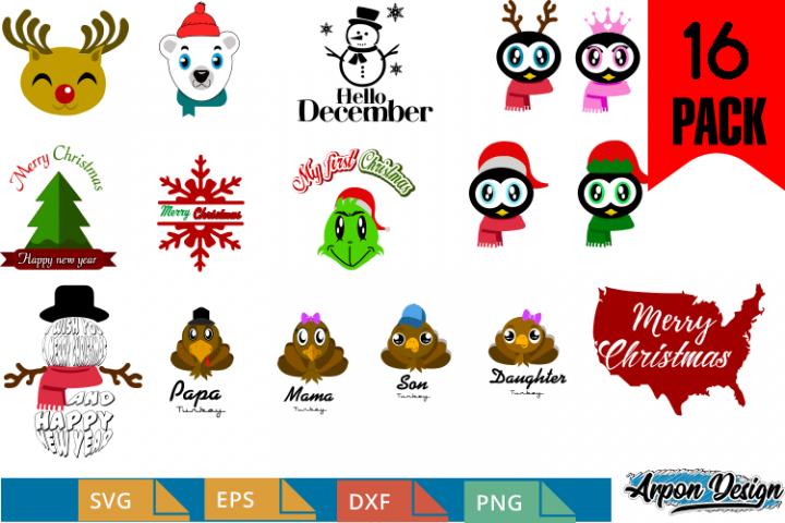 December pack of 16 clipart svg,eps,png,dxf