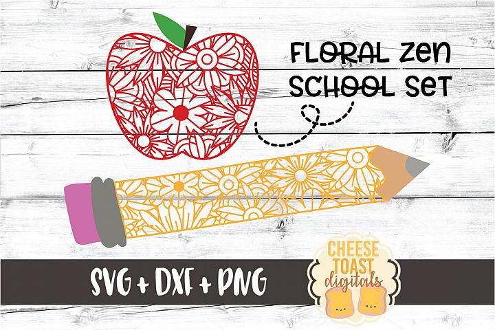 Floral School Zen Doodle Set - Teacher SVG PNG DXF Cut Files
