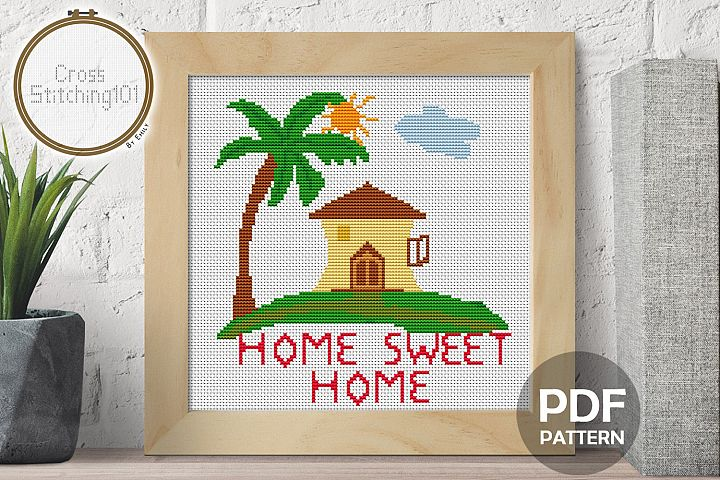 Palm Home Sweet Home Cross Stitch Pattern - Instant Download