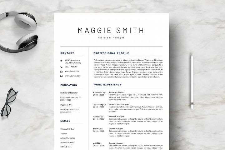 NEW Professional RESUME TEMPLATE BONUS Cover Letter