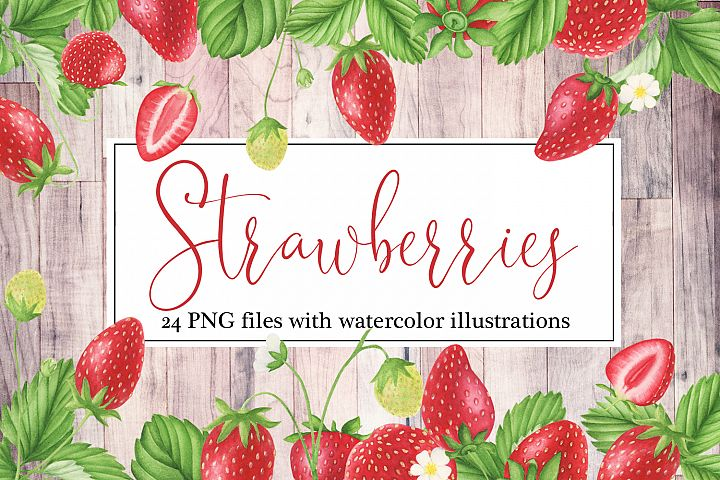 Strawberries watercolor clipart
