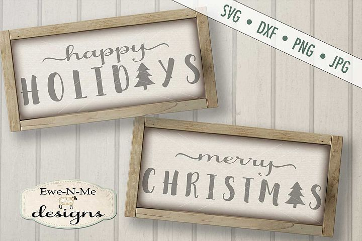 Happy Holidays Merry Christmas SVG DXF Files
