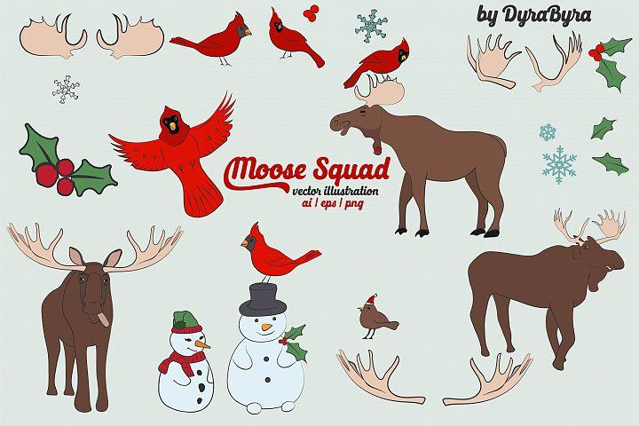 Moose & Cardinal Bird Vector Illustrations