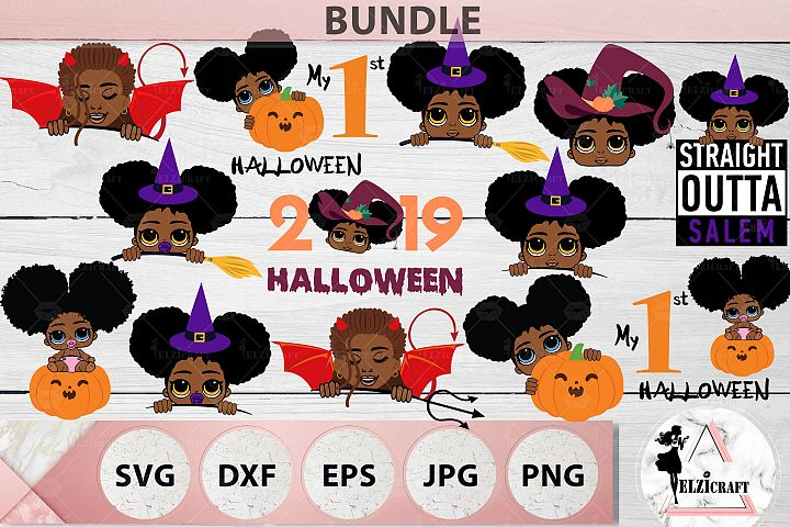 BUNDLE Halloween Afro Girls SVG Cut Files