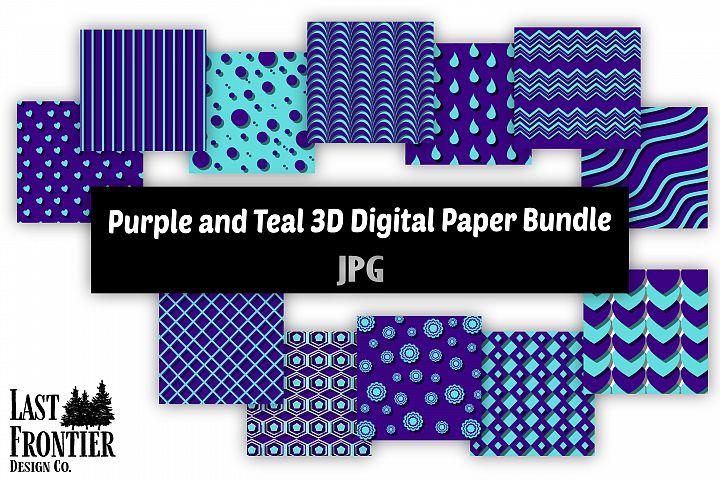 Purple and Teal 3D Digital Paper bundle