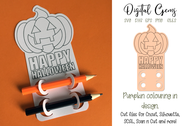 Pumpkin colouring in design, cut & single line sketch file