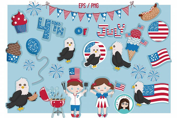 Fourth of July vector set