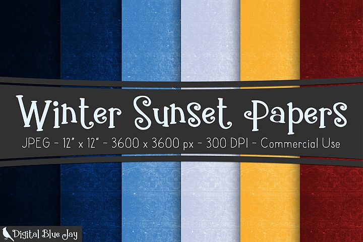 Digital Paper Textured Backgrounds - Winter Sunset