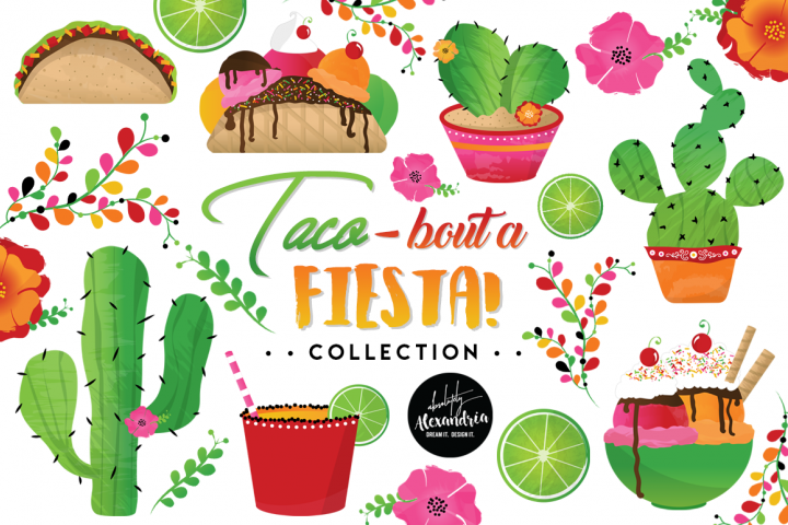 Taco Bout A Fiesta Clipart Graphics & Digital Paper Patterns Bundle