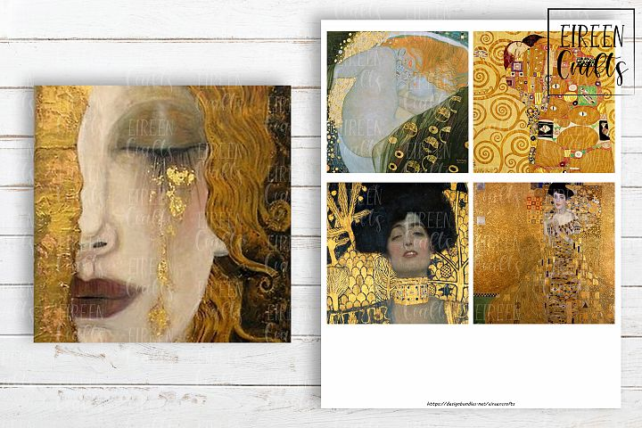 Gustav Klimt 4x4 inch tiles, Coasters Collage Sheet