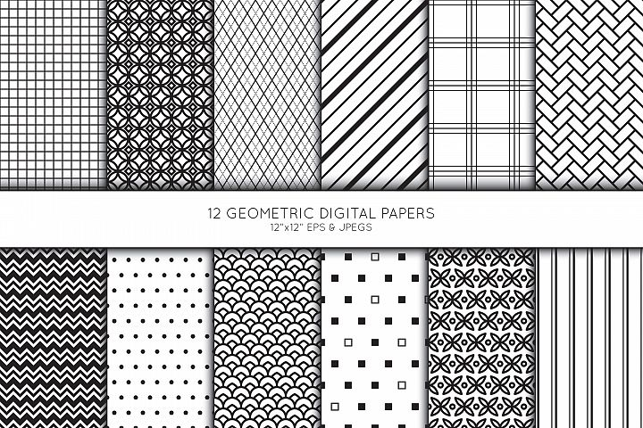 Geometric Digital Paper, Geometric Scrapbook paper
