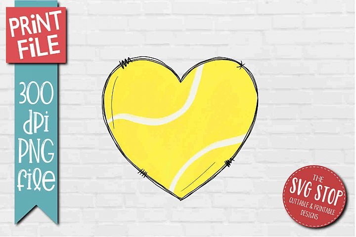 Tennis Doodle Heart Sublimation Design PNG