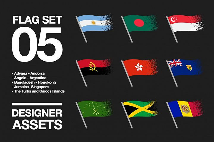 National Flag Vector AI and CDR Sparkle Vol. 5