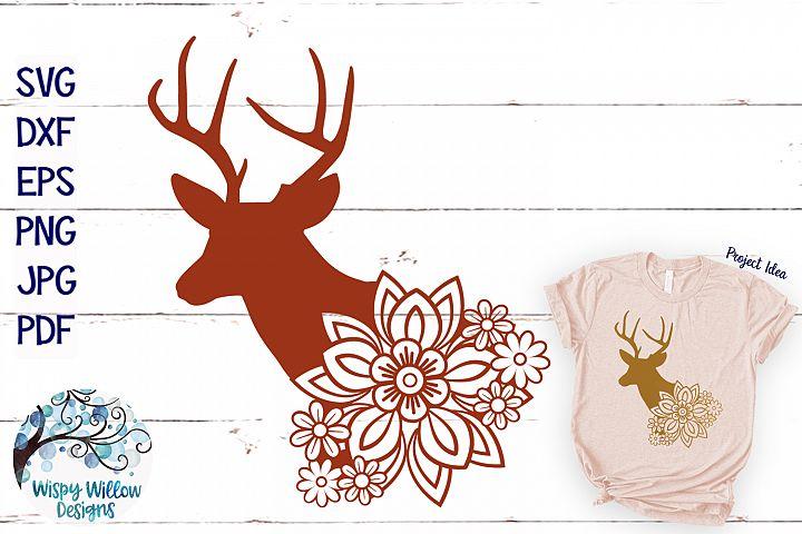 Floral Buck Deer SVG | Fall SVG Cut File