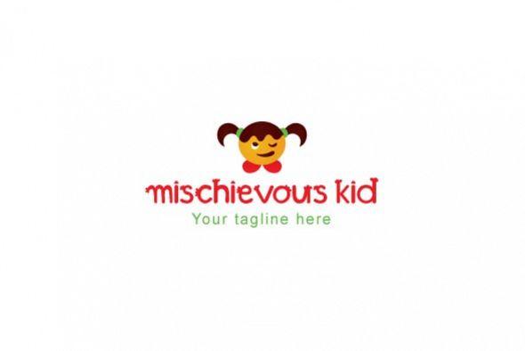 mischievous kid cute girl kid logo design template