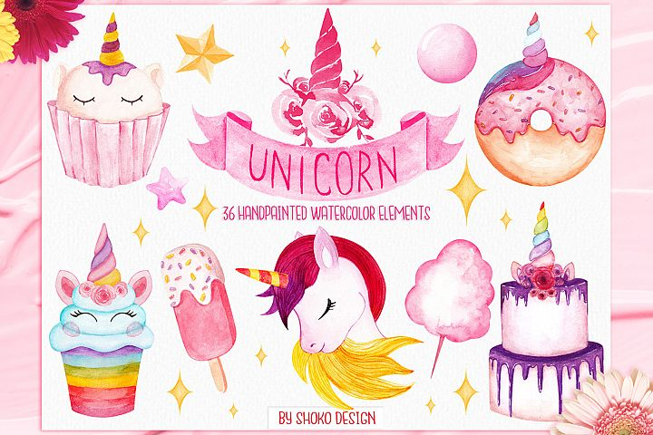 Unicorn Hand painted Watercolor Set Illustrations clipart