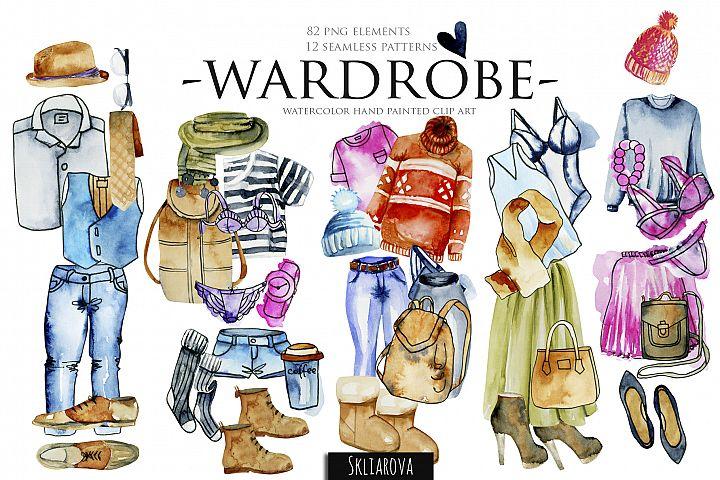 Wardrobe. Watercolor clip art.
