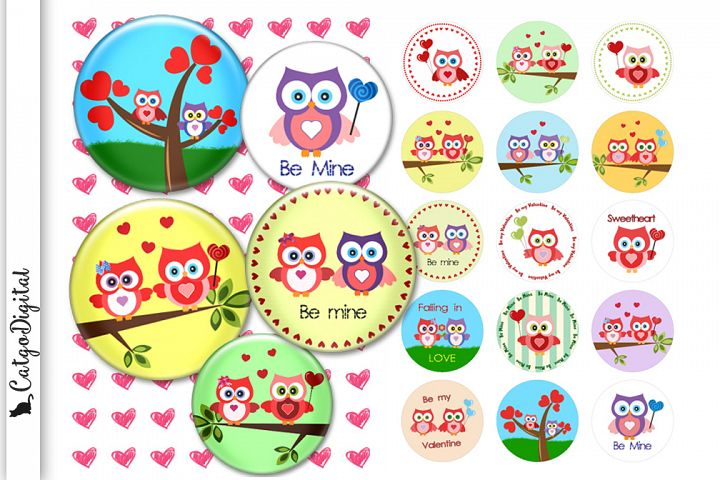 Cute Valentine Owls Digital Collage Sheet