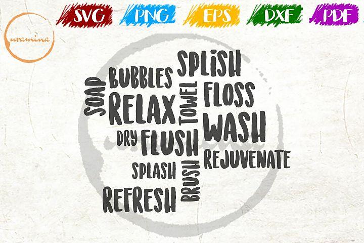 Wall Text Bathroom SVG PDF PNG
