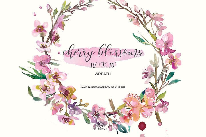 Hand Painted Watercolor Cherry Blossoms Clipart