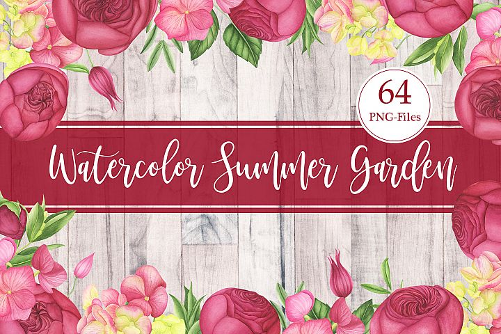 Watercolor Summer flowers clipart