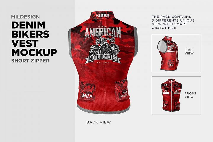 Denim Bikers Vest Mockup