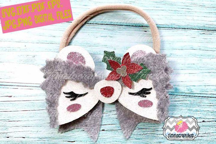 Holiday Christmas Hedgehog Bow Template, Christmas Flower
