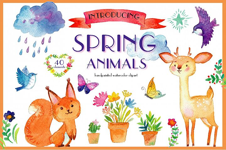 Spring animals. Deers, birds, bear, squirrel etc