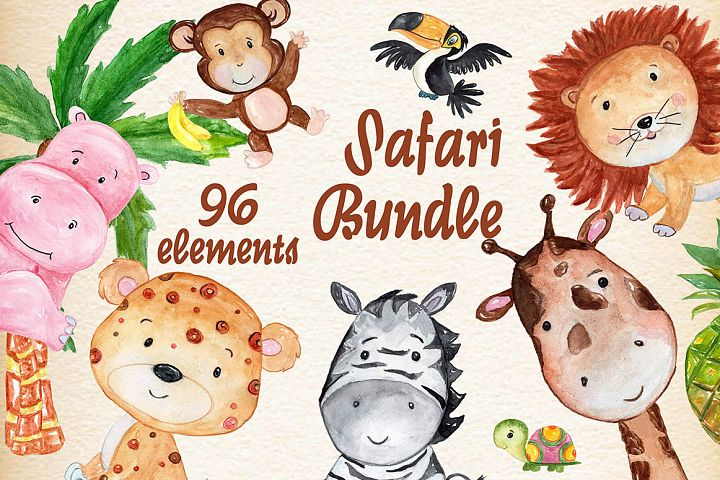 Safari Animals. Watercolor bundle