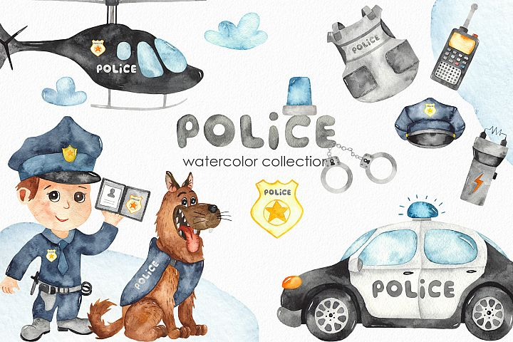 Watercolor Police. Clipart, premade card, seamless patterns