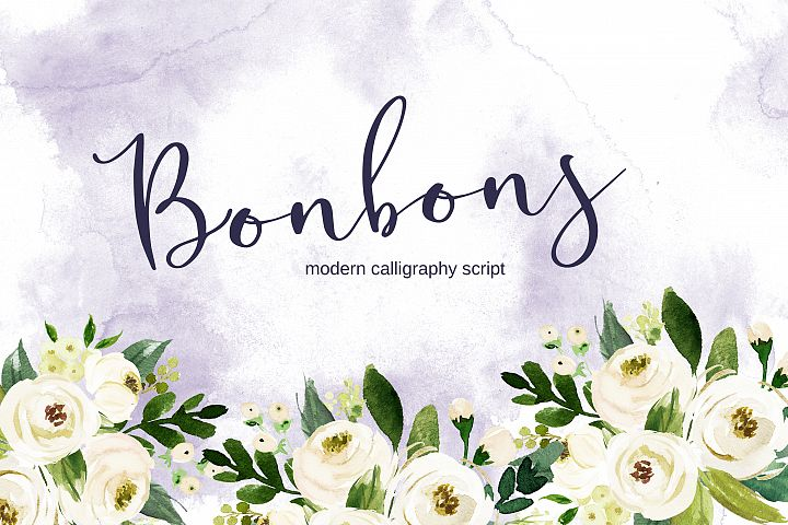Bonbons - modern calligraphy script font with gold and silve