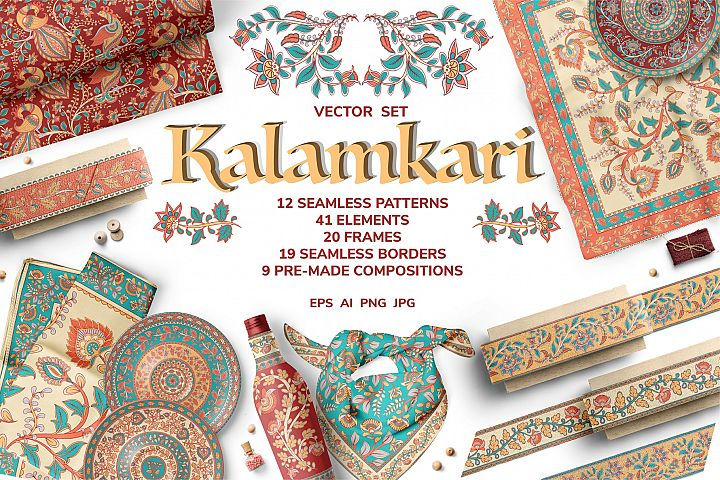 KALAMKARI. Vector Set Ornaments.