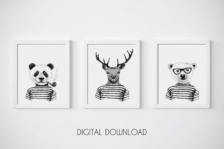 Funny Animal Print, Hipster Animal Wall Art, Animal Nursery