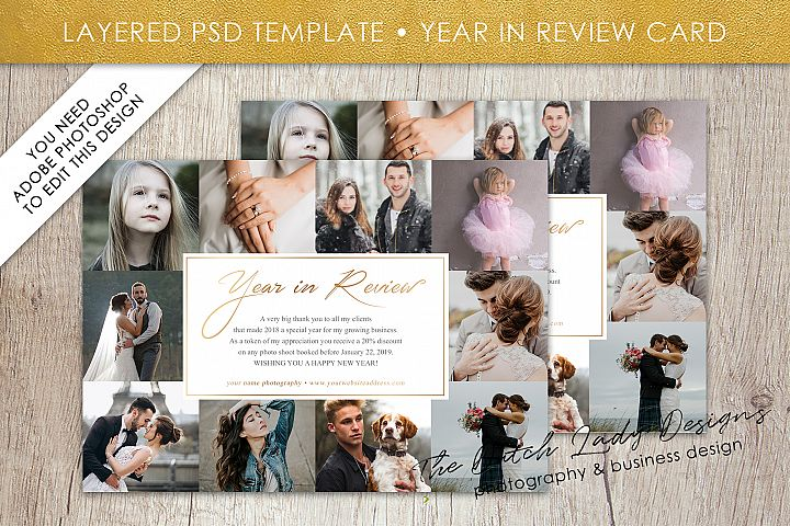 PSD Year In Review Photo Collage Card Template #5