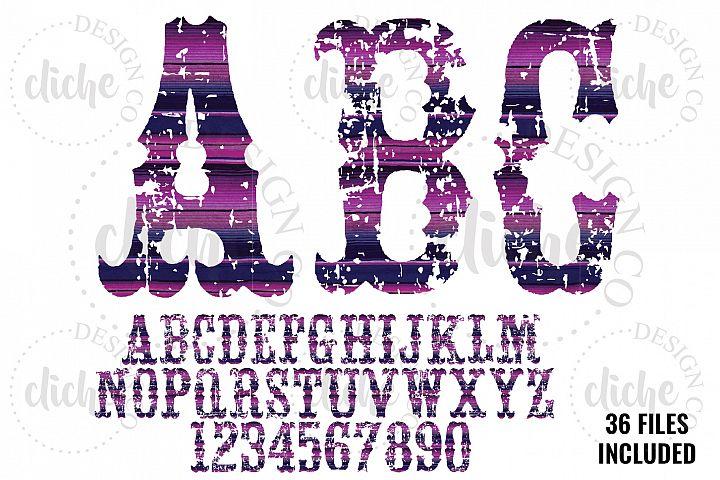 Grunge Serape Alphabet Sublimation Set