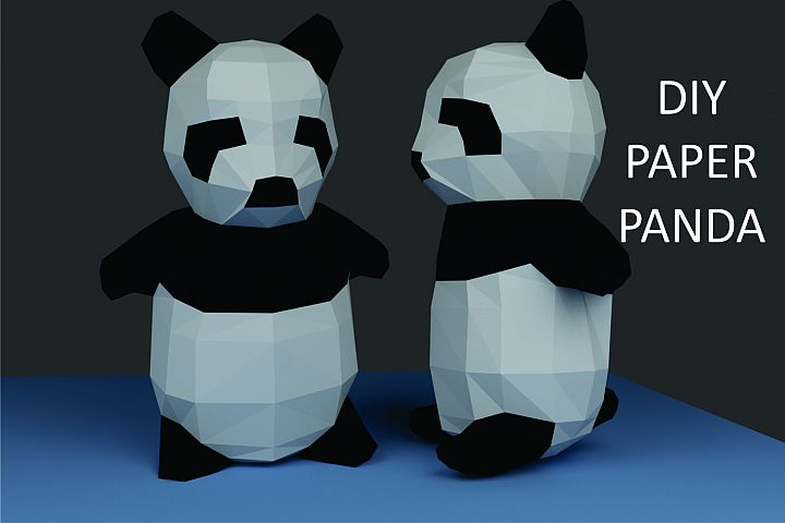 DIY Papercraft Panda PDF Template,