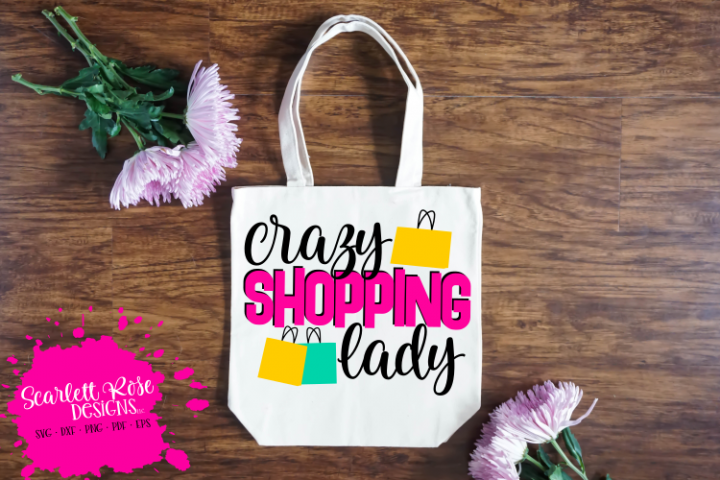 Crazy Shopping Lady SVG