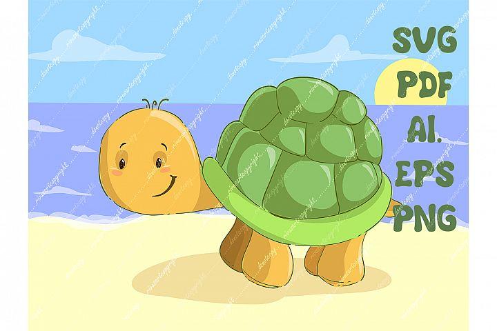 Turtle SVG download, cute turtle PNG, Cute baby animal Cut