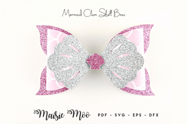 Mermaid Bow SVG, Bow Template, Hair Bow SVG, Felt Bow PDF