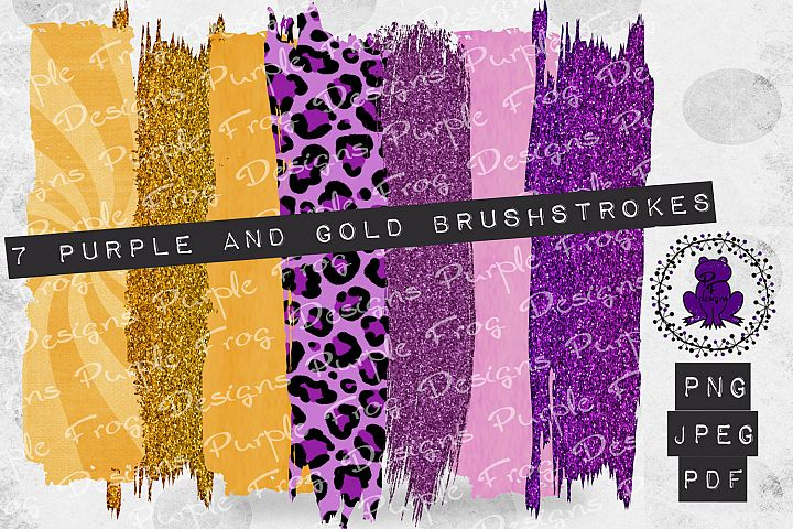 Brushstroke Bundle Purple Gold Glitter