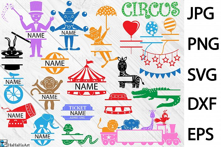 Split Circus Carnival - Clip art / Cutting Files 162c