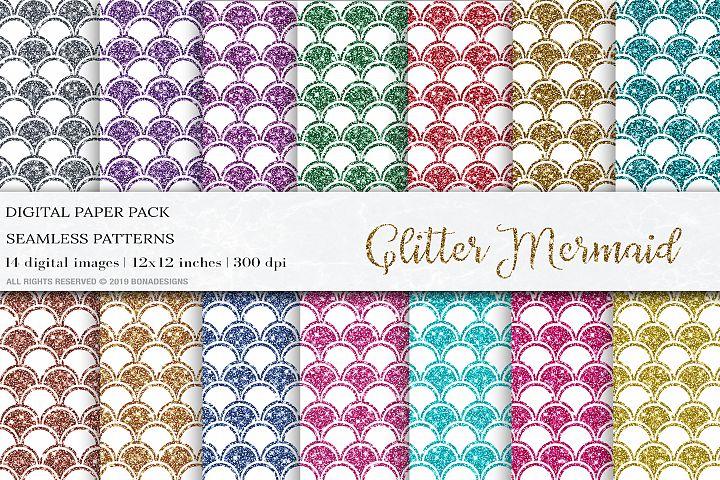 Glitter Mermaid Scales Digital Papers, Mermaid Patterns