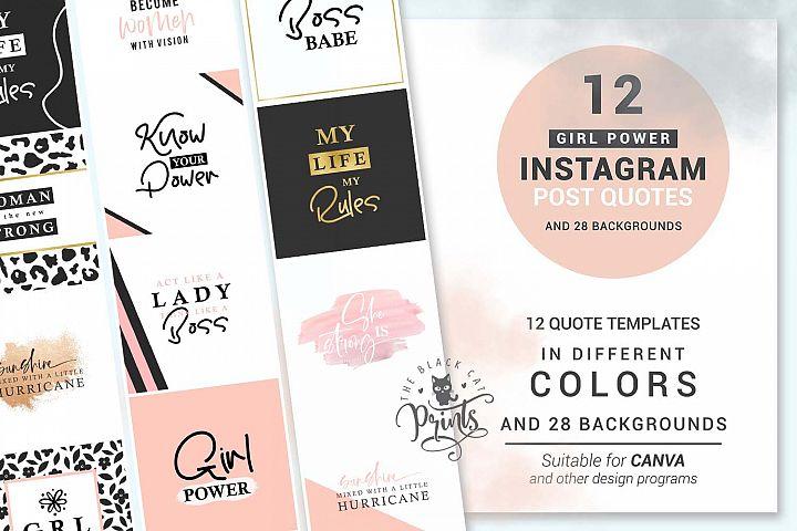 Girl Power Instagram Post Quotes Instagram Template Bundle
