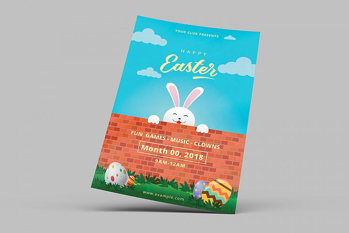 Easter Invitation Flyer, MS Word & Photoshop Template