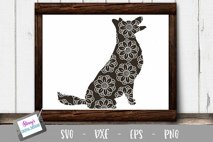 Dog SVG - German Shepherd with floral mandala pattern