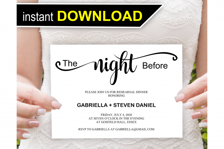 The night before, Rehearsal Dinner Invitation template