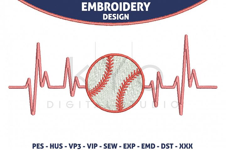Baseball Heartbeats HUS VP3 EXP VIP PES Embroidery files, Baseball Embroidery design files