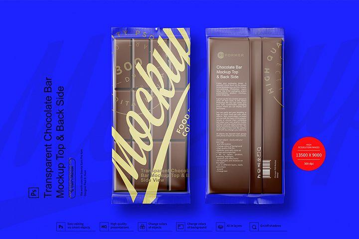 Transparent Chocolate Bar Mockup Top & Back Side